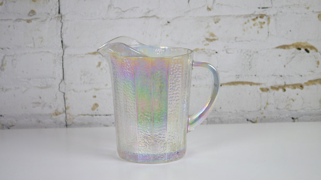 Vintage Iridescent Pitcher Carnival Glass Clear