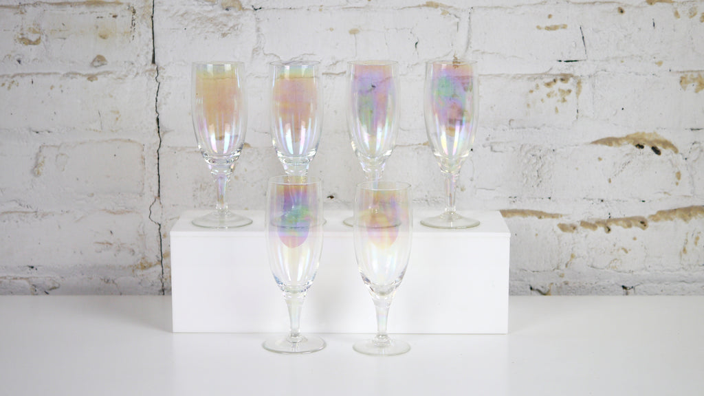 Vintage Iridescent Champagne Glasses Flutes set of 6 Carnival Glass Clear