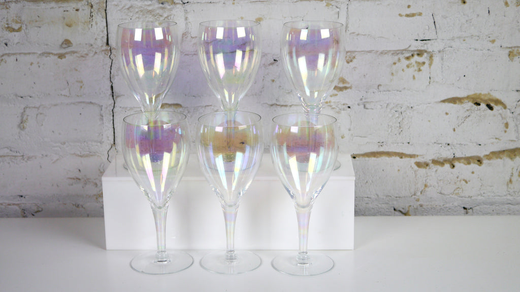 Vintage Iridescent Wine Glasses set of 6 Carnival Glass Clear