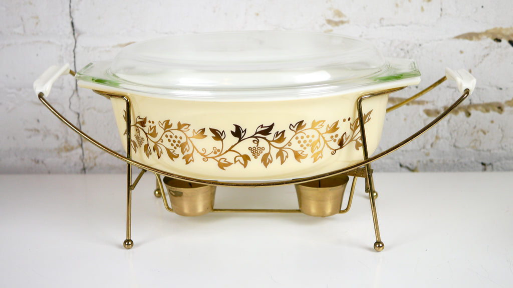 Vintage Mid Century Pyrex Golden Casserole Dish with Stand 045 Leaves Grapes 2.5 quart