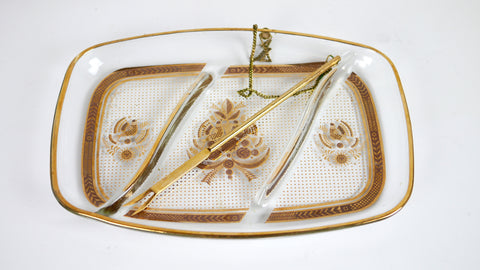 Vintage Mid Century Dish - Georges Briard Divided Hors d'Oeuvres Dish + Fork in Gold Bird Motif