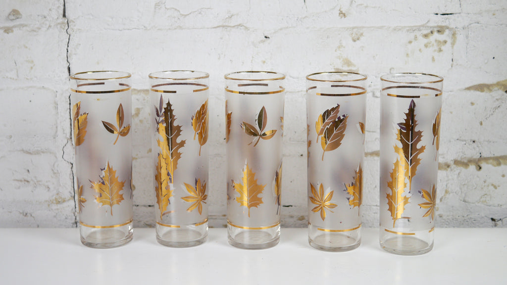 Vintage Mid Century Glassware - Libbey Leaf Highball Glasses Gold Rim - Set of 5 Thanksgiving Holiday