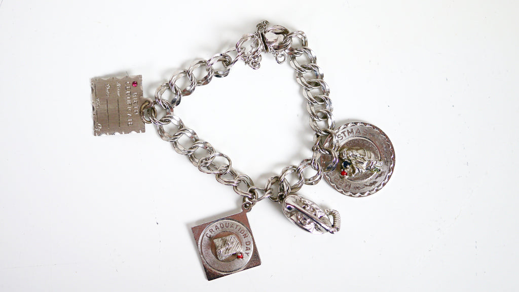 Vintage Mid Century Charm Bracelet - Elco Sterling Silver Christmas Graduation Telephone Birthday