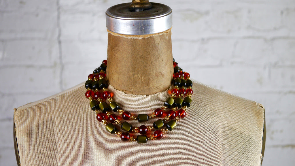 Vintage 1960s Beaded Necklace Red Orange Green Gold Choker