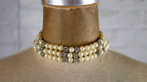 Vintage 1950s Choker Faux Iridescent Pearl and Rhinestone 3 Strand