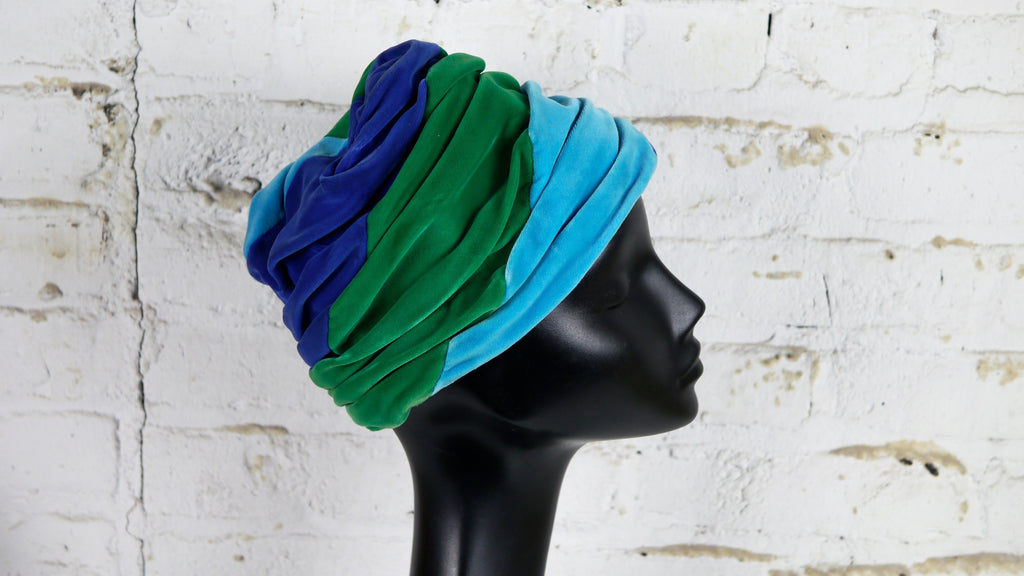 1960s Vintage Velvet Turban Style Blue Turquoise Green Jewel Tones by Valerie Modes
