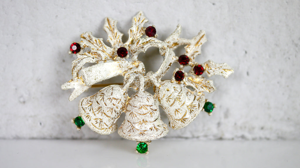 Vintage Mid Century Dodds Brooch Christmas Bell White Red Green Gold