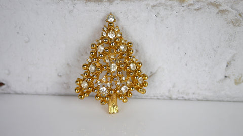 Vintage 1980s Eisenberg Christmas Tree Brooch Clear Rhinestone Gold