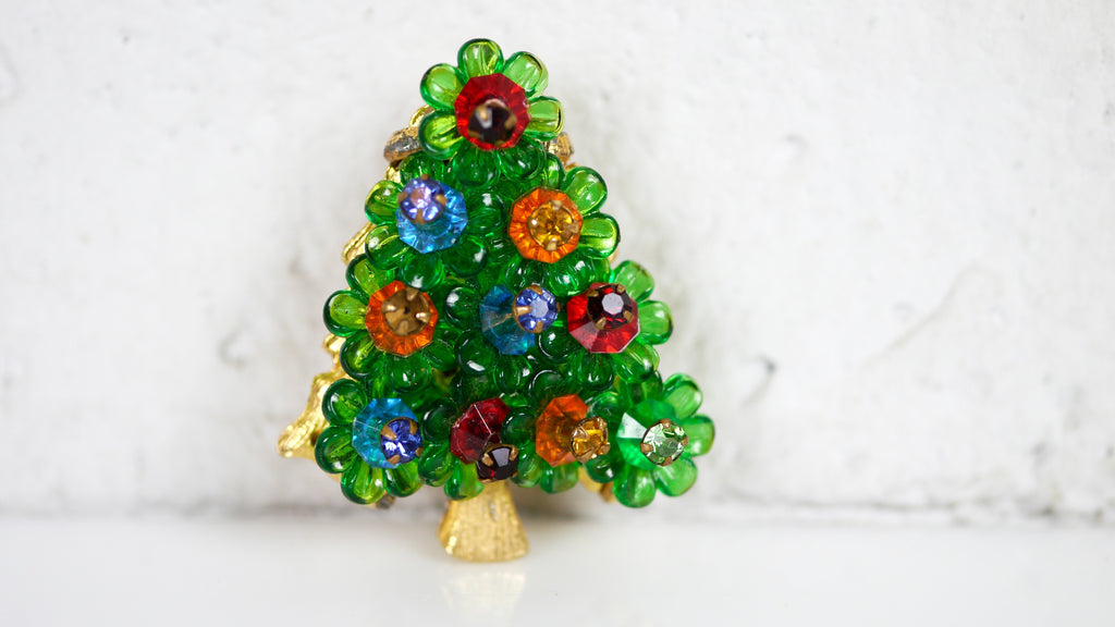 Vintage Christmas Tree Brooch Green Flower Rivoli beaded colorful
