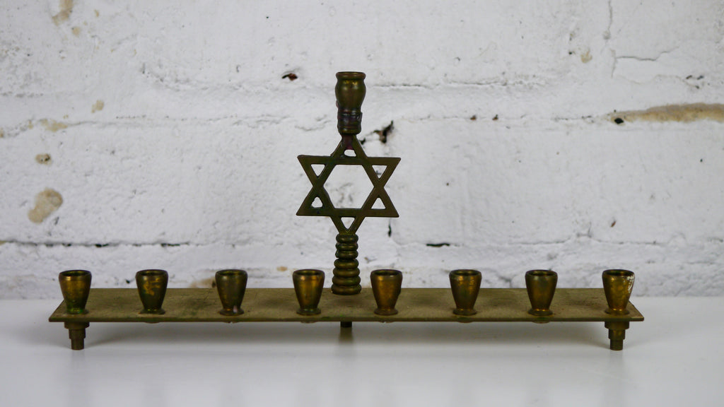 Vintage Brass Star of David Menorah