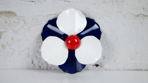 Vintage 1960s Enamel Flower Brooch red white blue