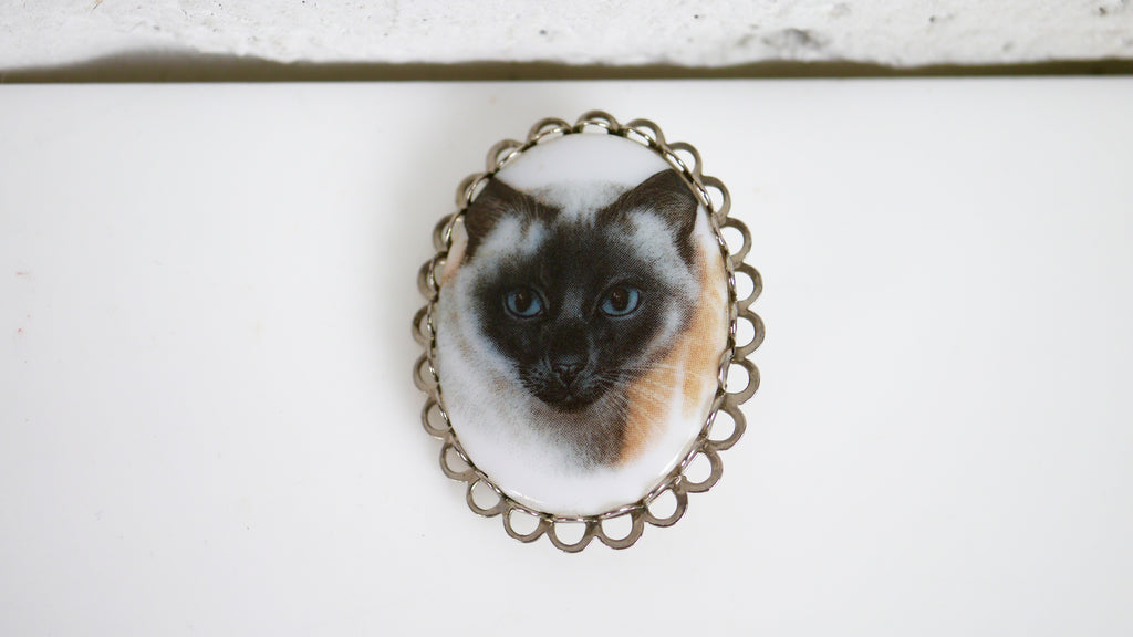 Siamese Cat Portrait Brooch