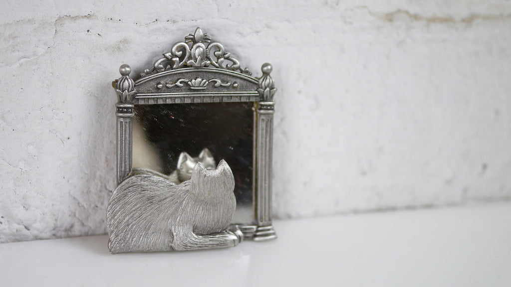 Vintage JJ Cat Brooch with Mirror Silver Tone