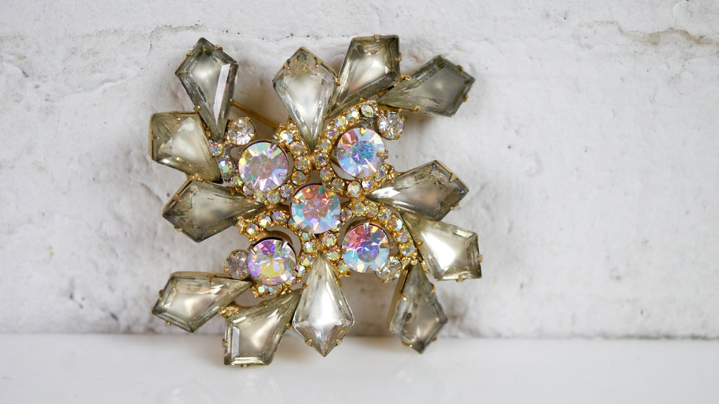 Vintage Large AB rhinestone Brooch Gray Clear