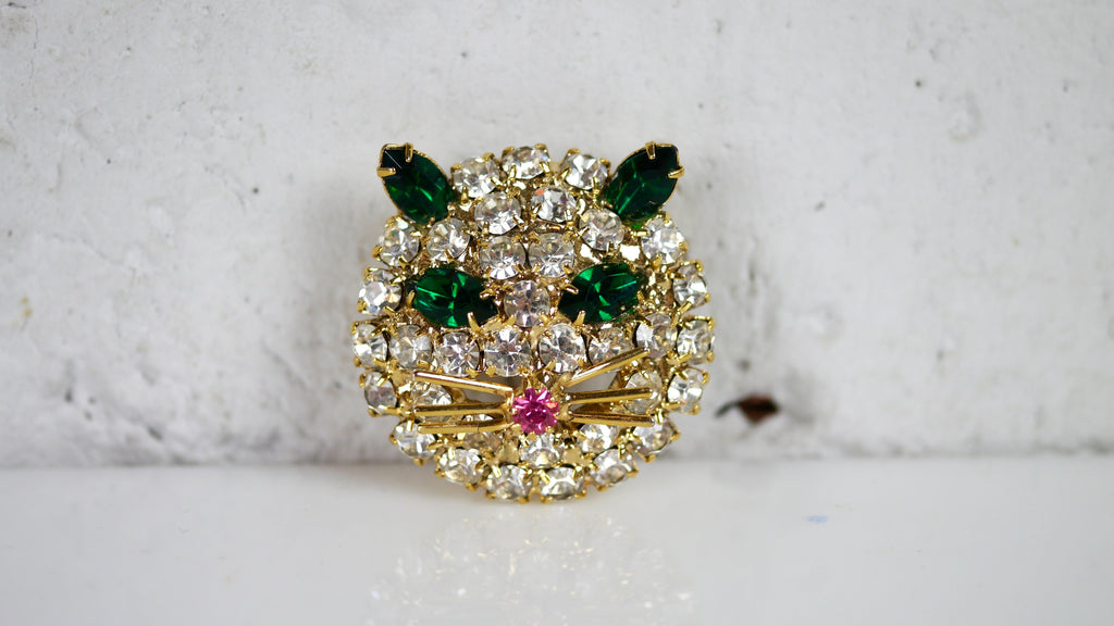 Rhinestone Cat Brooch Warner Style Green Eyes Pink Nose