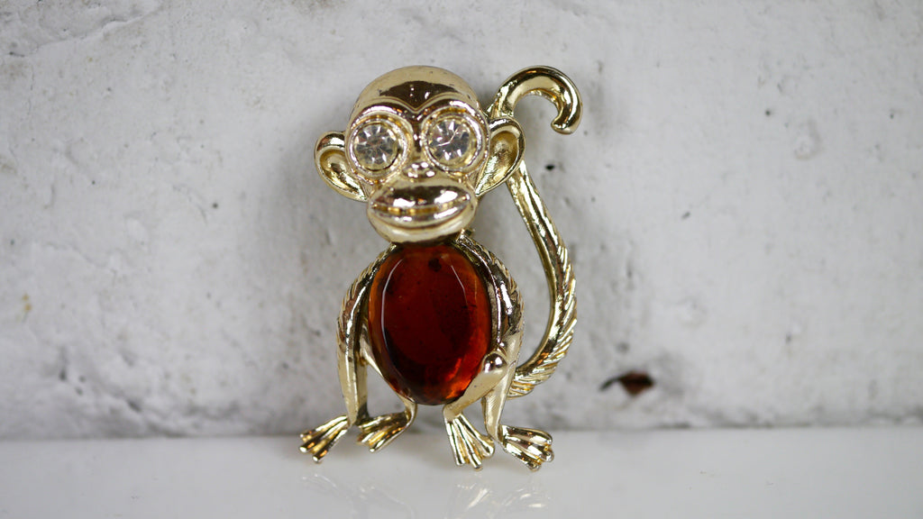 Monkey Brooch Jelly Belly amber