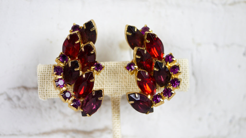 Vintage 1950s Rhinestone Clip on Earrings Red Purple Jewel Tones Large