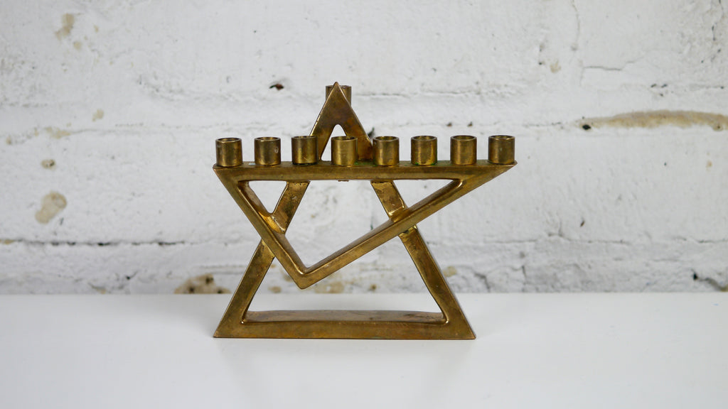 Vintage Geometric brass small menorah triangle