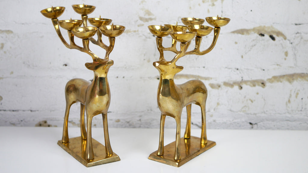 Vintage Reindeer candelabra Candle Holder Pair Brass Deer 6 candles 12 candles