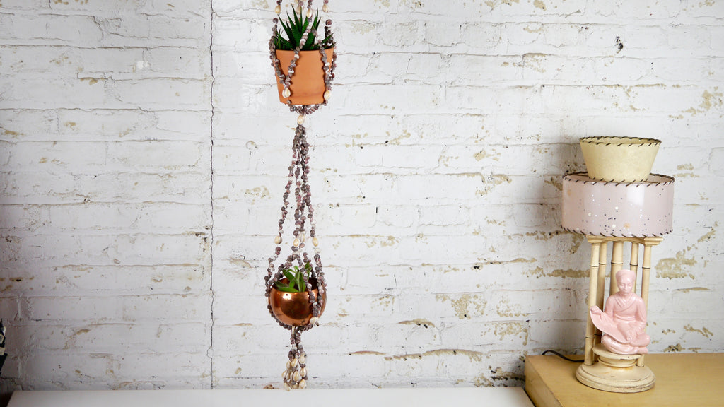 Seashell Plant Hanger Double Two Plants