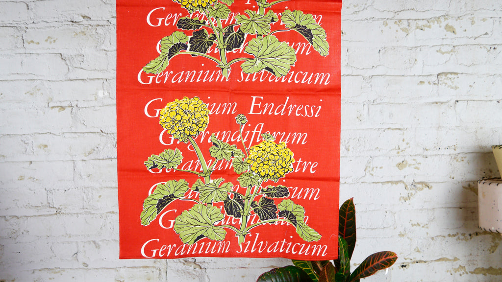 Martex Geranium Flower Tea Towel Red