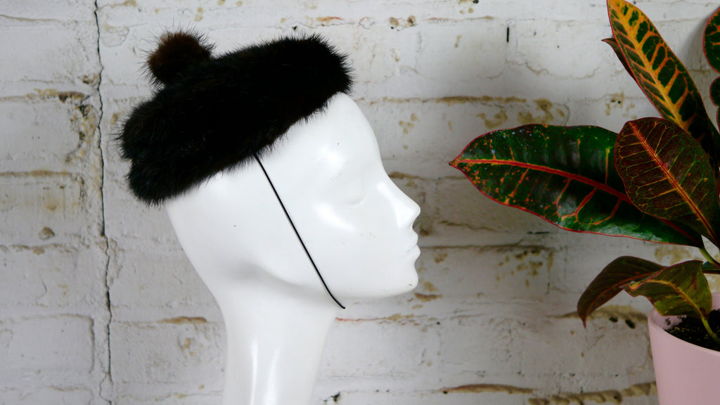 Vintage 1960s Mink Fur Beret Hat with Hair Strap