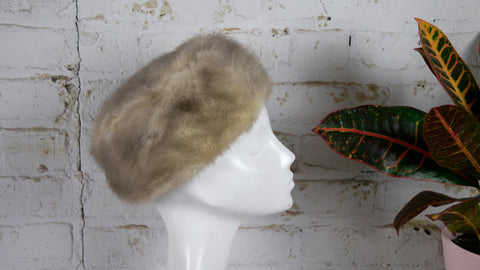 Vintage 1950s Pillbox Hat Grey and Blonde Fox Fur