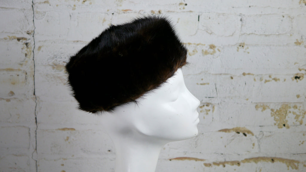 Vintage 1950s Brown Mink Fur Pillbox Hat