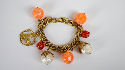 Vintage Mid Century Charm Bracelet - Orange Red & Faux Pearl Beads with Gold Flower Charm