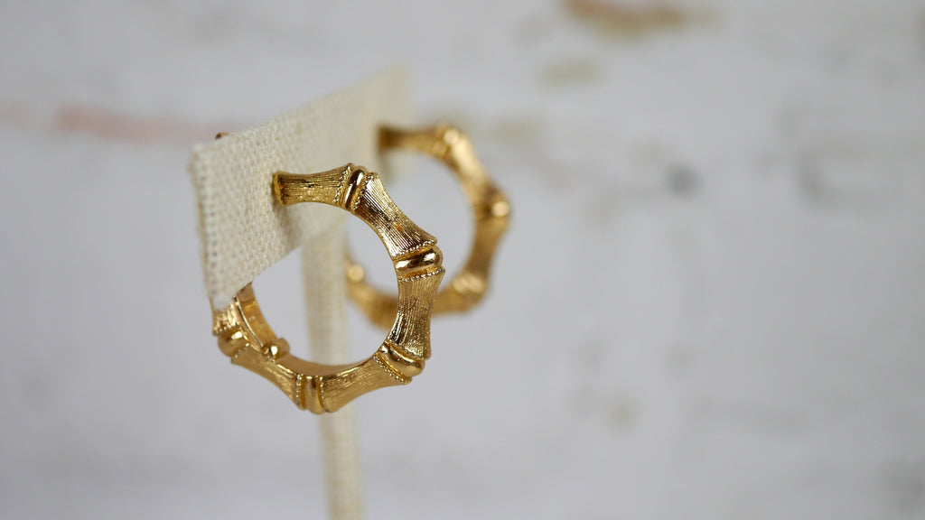 Vintage Monet Bamboo Hoops Clip On Earrings Gold Tone
