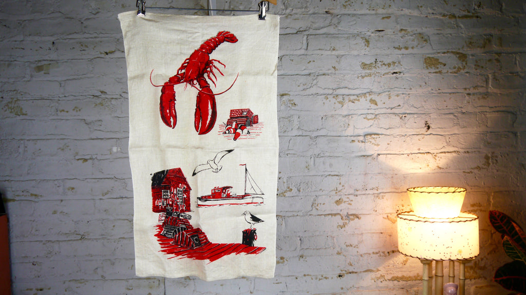 Vintage Mid Century Lobster Tea Towel Nautical