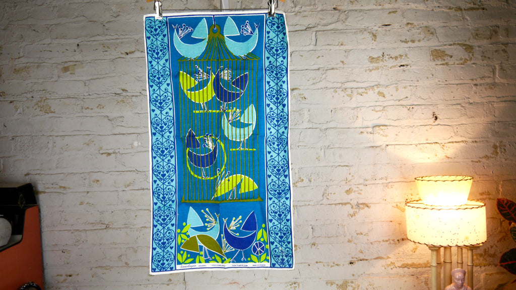 Vintage Mid Century Tea Towel Louise Fougstedt Birds Blue Green