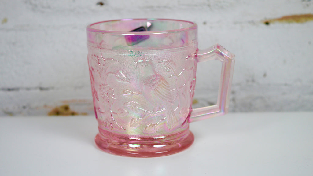 Vintage Imperial Lenox Pink Carnival Glass Mug in Iridescent Birds Flowers Motif