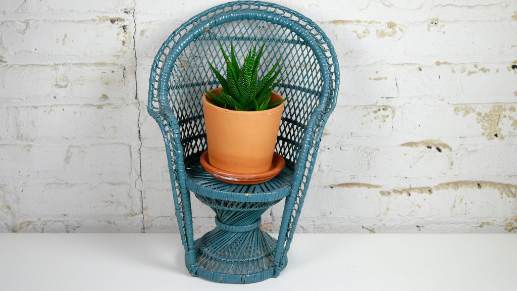 Vintage Blue Wicker Peacock Chair Plant Stand