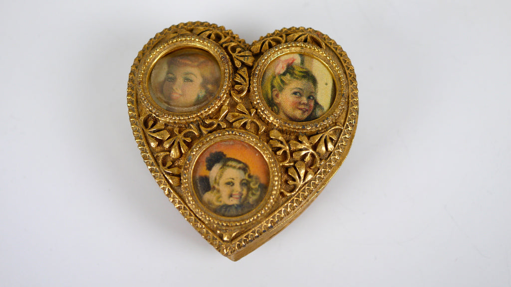 Vintage Florenza heart trinket box lipstick holder gold ornate