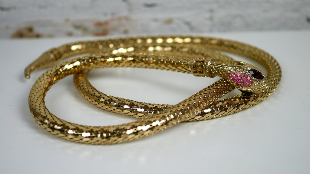 Vintage Whiting and Davis Mesh Snake Belt Pink Red Gold Rhinestones