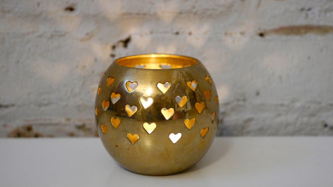 Vintage Brass Heart Votive Tea Light Candle Holder