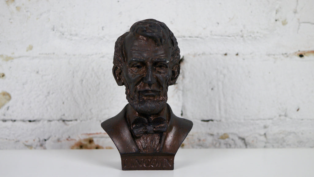 Vintage Mid Century Abraham Lincoln Bust Small Plaster Brown Bronze Color