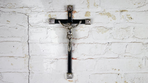 Vintage Plastic INRI Crucifix Black and Silver