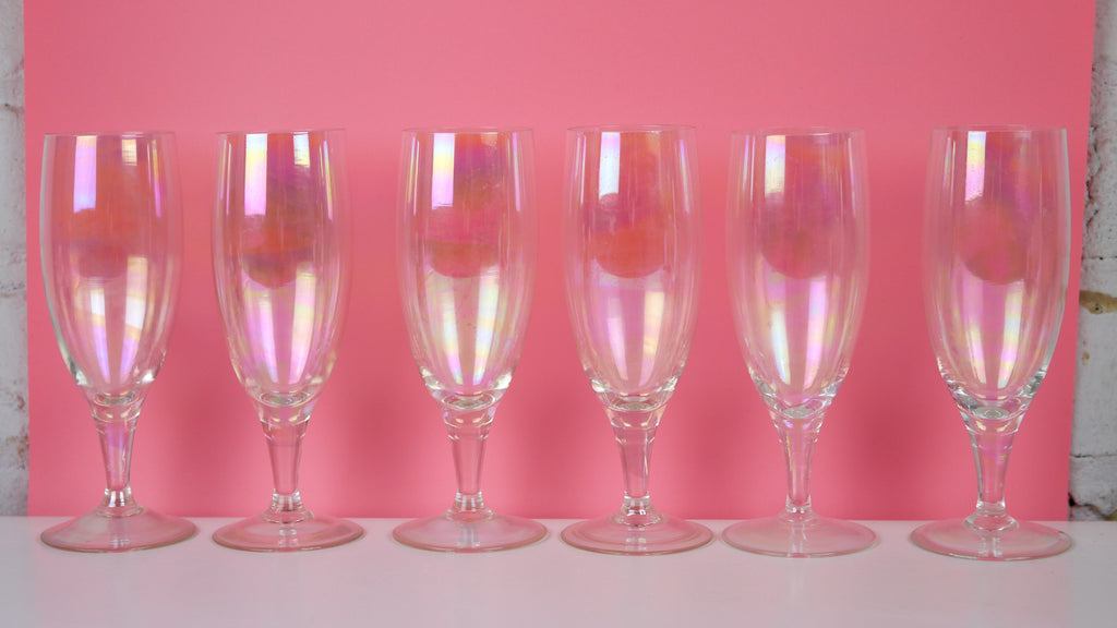Vintage Carnival Glass Iridescent Champagne Flutes set of 6