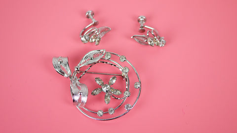 Vintage Sterling Silver Jewelry Set - Espo Flex Brooch and Screw Back Earrings with Rhinestone Flower Filigree