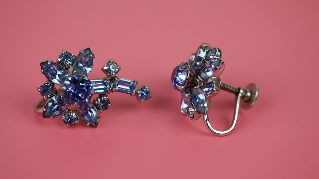 Vintage Mid Century Earrings - Blue Rhinestone Screw Back Earrings by Sherman