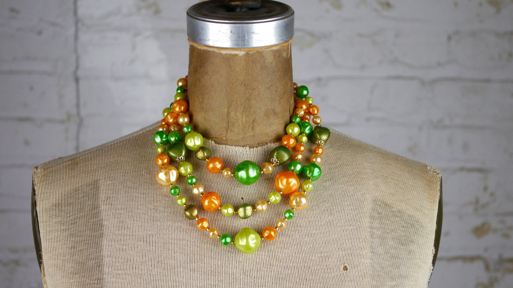 Retro Beaded Necklace Green Orange 1960s Mid Century