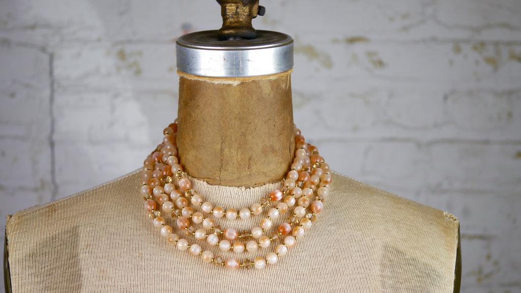 Vintage Mid Century Necklace - Lisner Pastel Pink 4 Strand with Beaded Glass