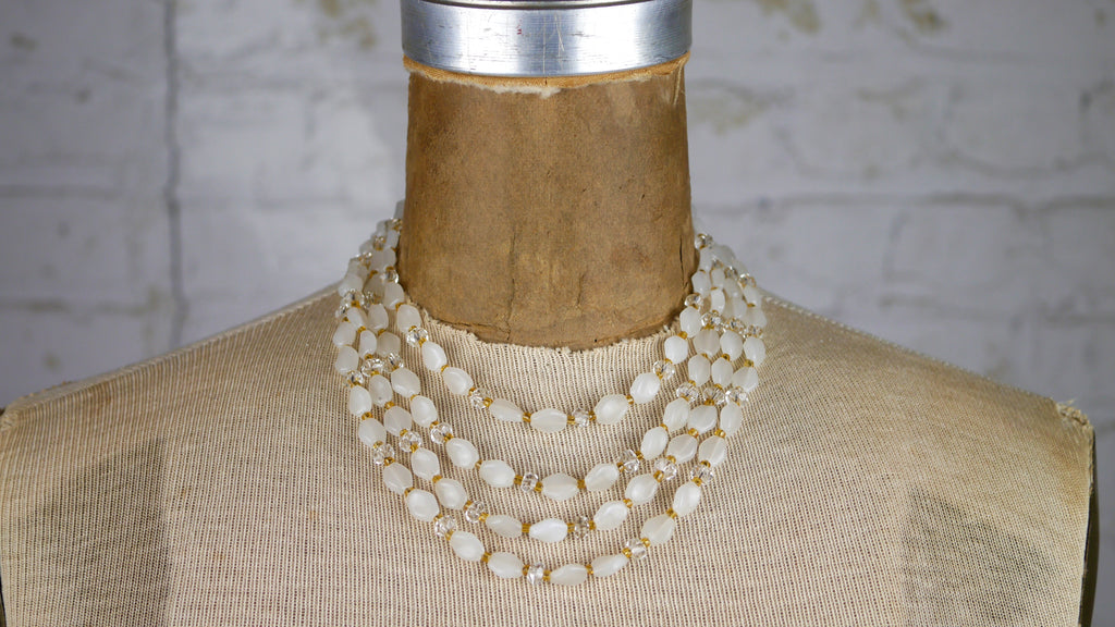 Vintage Necklace - Multi Strand Glass Bead Necklace in White - Signed Japan