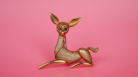 Vintage Mid Century Brooch - J.J. Jonette Jewelry Gold Toned Deer Fawn with Green Rhinestone Eyes