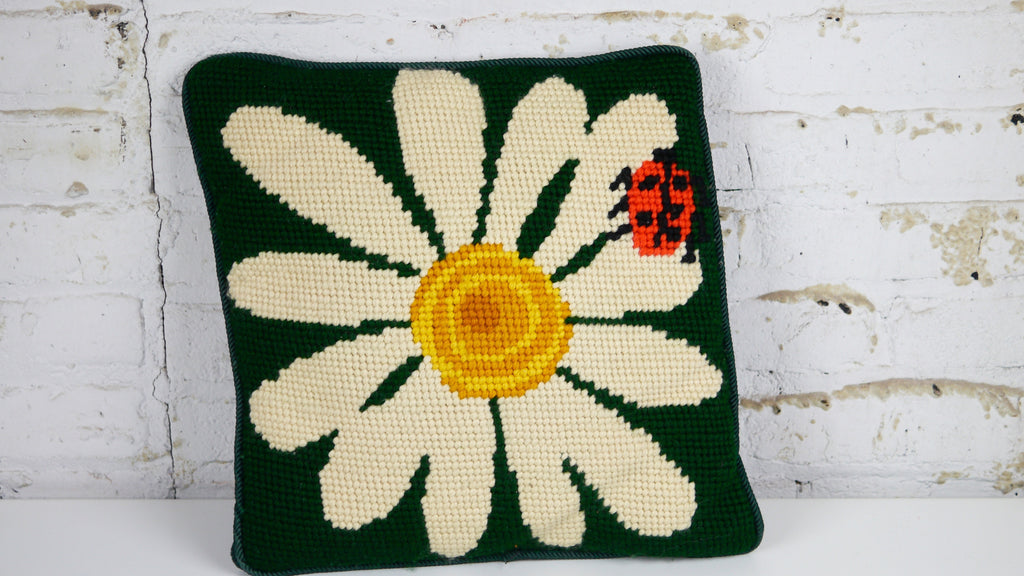 1970s Needlepoint Throw Pillow with Flower Ladybug Green Motif