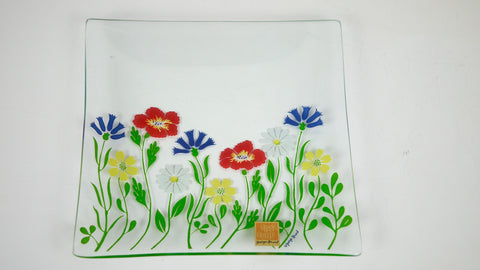 Vintage Mid Century Trinket Dish - Georges Briard Tray in a Flower Floral Pattern