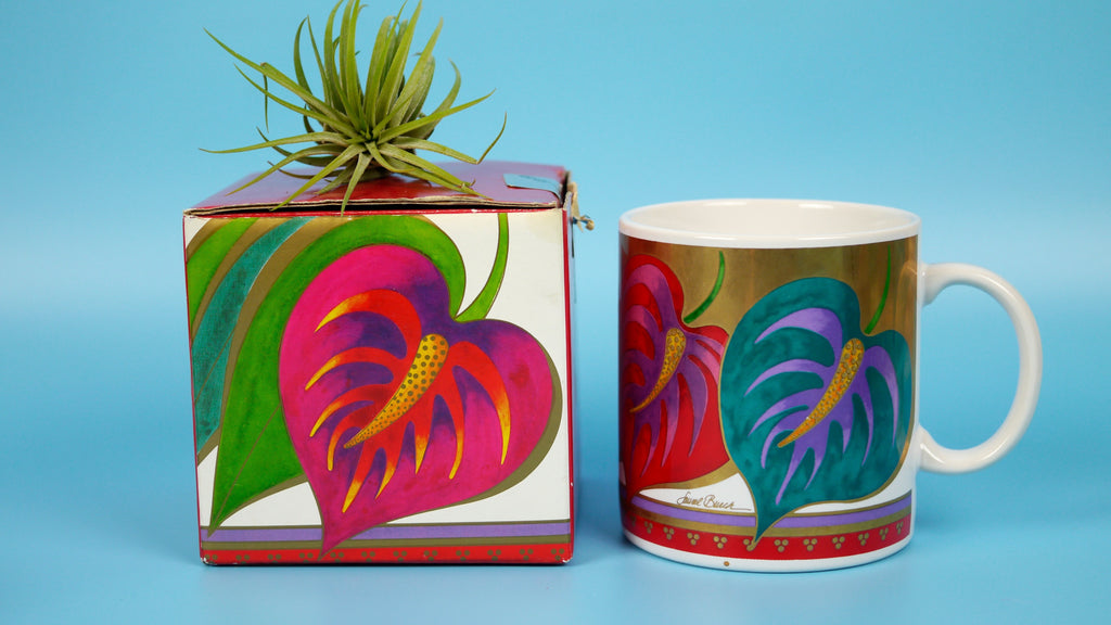 1990s Laurel Burch Mug Anthurium Plant Flower Leaves