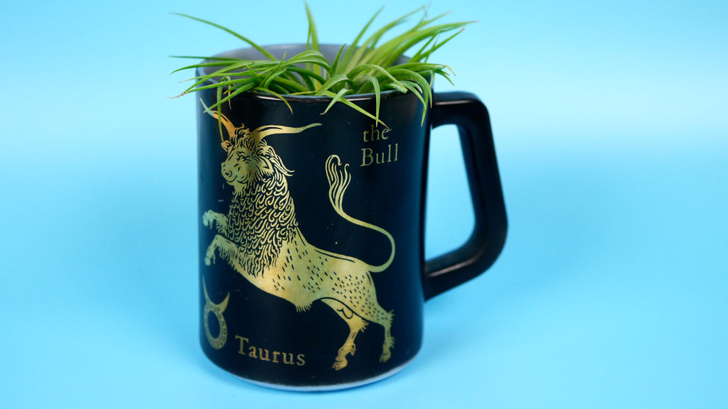 1970s Vintage Taurus Mug in Black Gold by Federal Glass